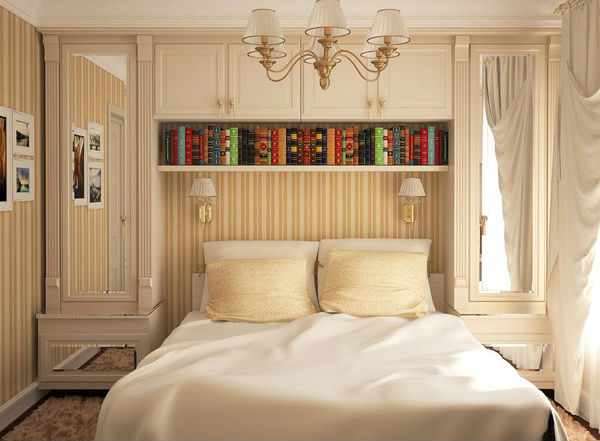 Спальня, выдержанная в светлых оттенках