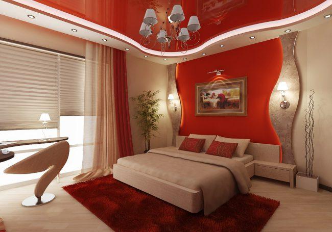 Красный в дизайне спальни
