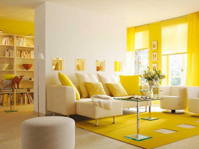 Желтая цветовая гамма в интерьере дома