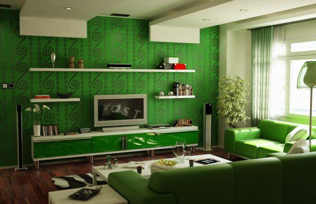 Гостиная, оформленная в зеленом цвете