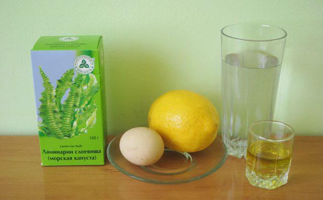 Ламинария, яйцо и лимон