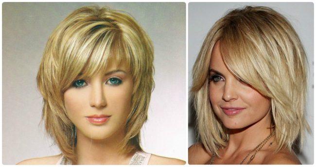 Стрижки на средние волосы для круглого лица фото