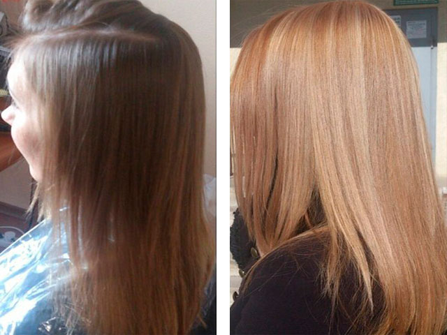 Результат осветления каштановых волос