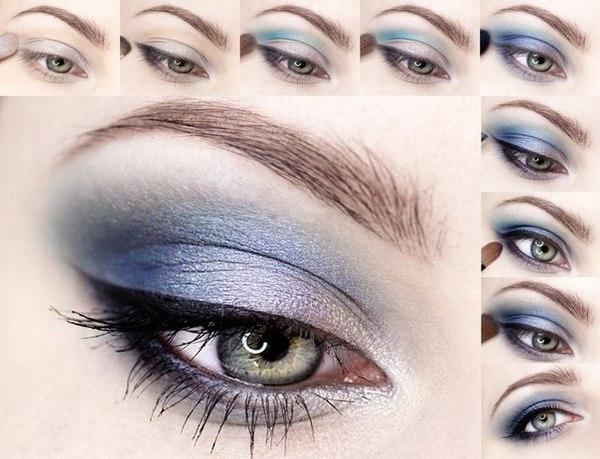 Голубой макияж для серых глаз