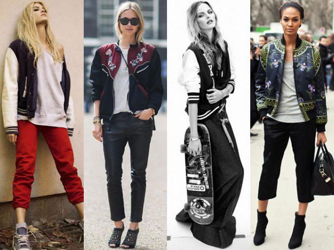 Куртки-бомберы на девушках