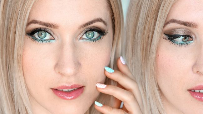 Розовая помада в макияже для голубых глаз