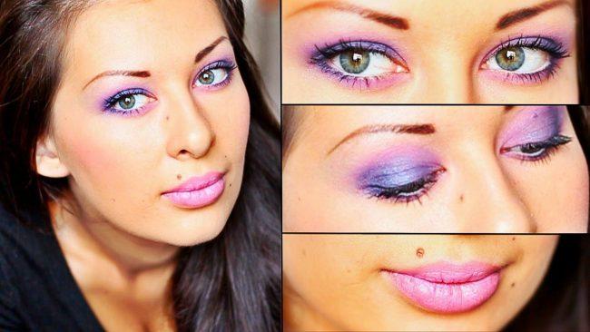 Фиолетовый макияж для зеленоглазых