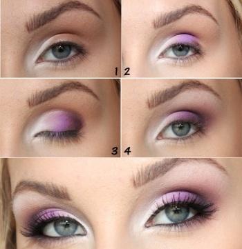 Фиолетовый макияж для серых глаз