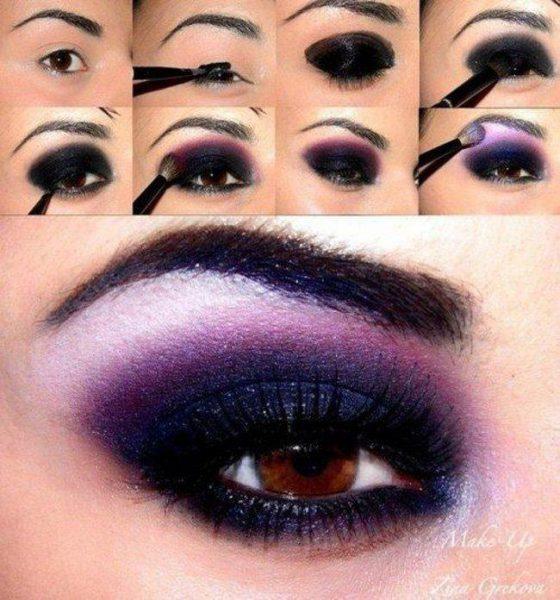 Фиолетовый макияж карих глаз