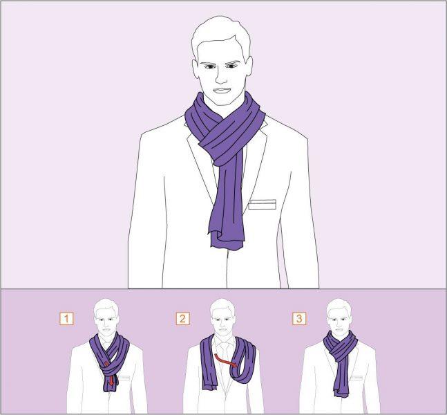 Классический вариант повязывания шарфа