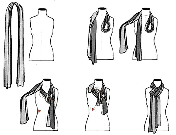 Сложный способ завязывания шарфа
