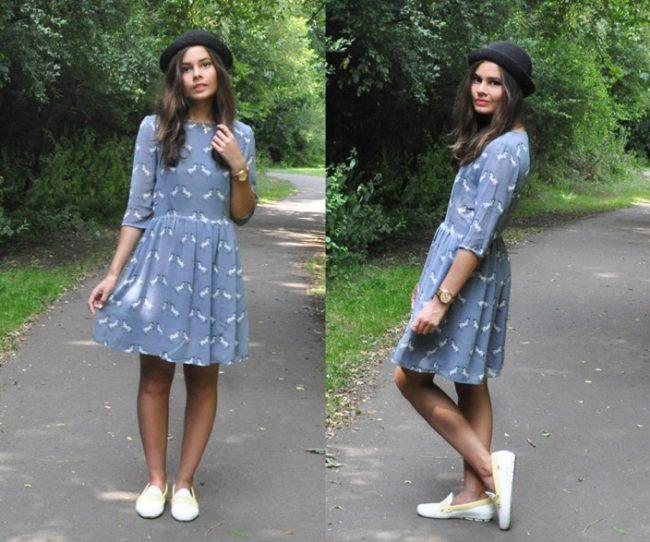 Платье миди и мокасины