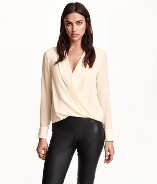 Блузка из шифона с длинными рукавами