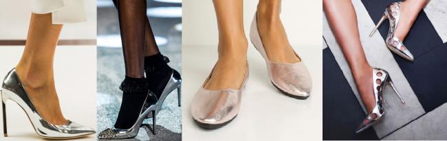 Туфли цвета металлик