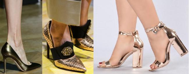 Туфли цвета золото