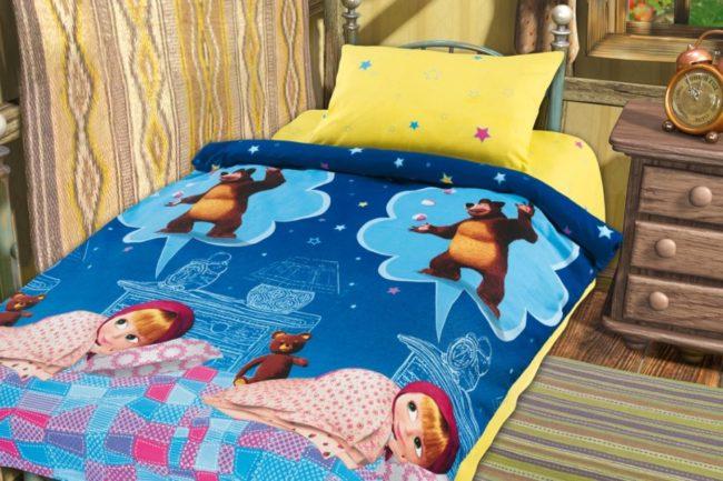 Детское постельное белье с рисунком из мультфильма